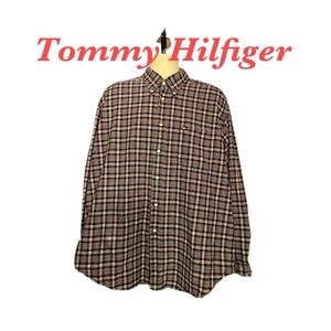 TOMMY HILFEGER RED & BLUE PLAID XL SHIRT